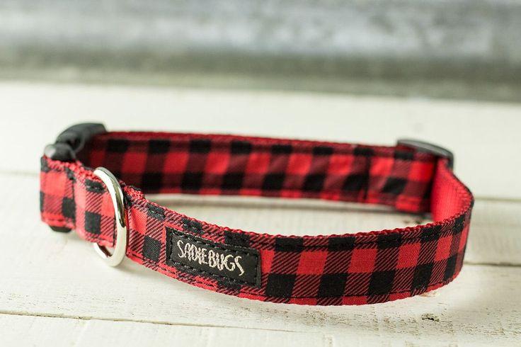 Red and Black Buffalo Plaid dog collar