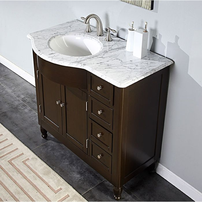 Silkroad Exclusive 38 Inch Carrara White Marble Stone Top Bathroom Off Center Single Sink Vanity Left By