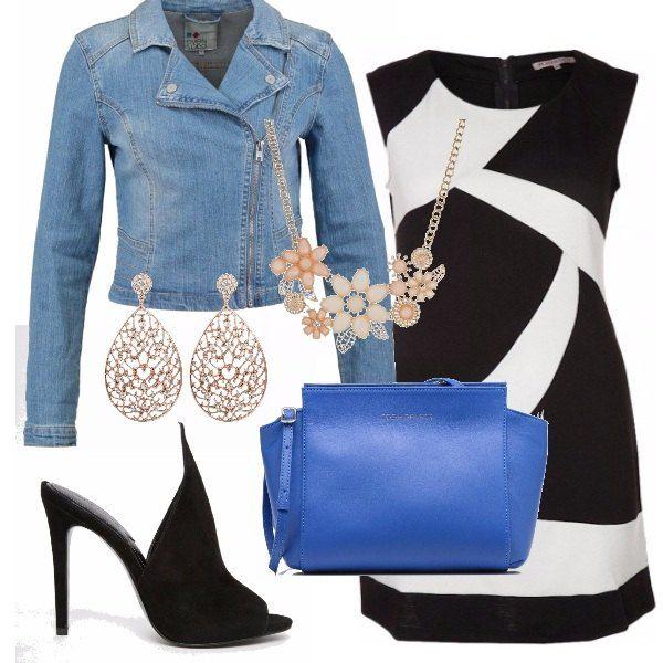 Outfit perfetto per i primi caldi. Il jeans sdrammatizza il tubino optical, il tacco seduce mentre gli accessori illuminano. Protagonista la borsa cobalto che introduce ai colori primaverili.