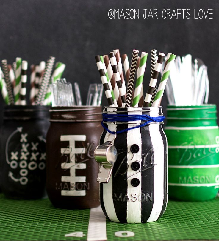 Mason Jar Craft Ideas for Super Bowl Party  FOOTBALL PARTY MASON JARS  Football Party Mason Jars – Football Party Ideas with Mason Jars.  Football Party Mason Jars  Can we talk Super Bowl? Or, more accurately, Super Bowl parties …  I'll admit I'm not much for game watching. However, I do enjoy the ad watching. And the half time show antics and mishaps (can you say left shark?).  And then there's the food. Definitely worth all the game day hype.