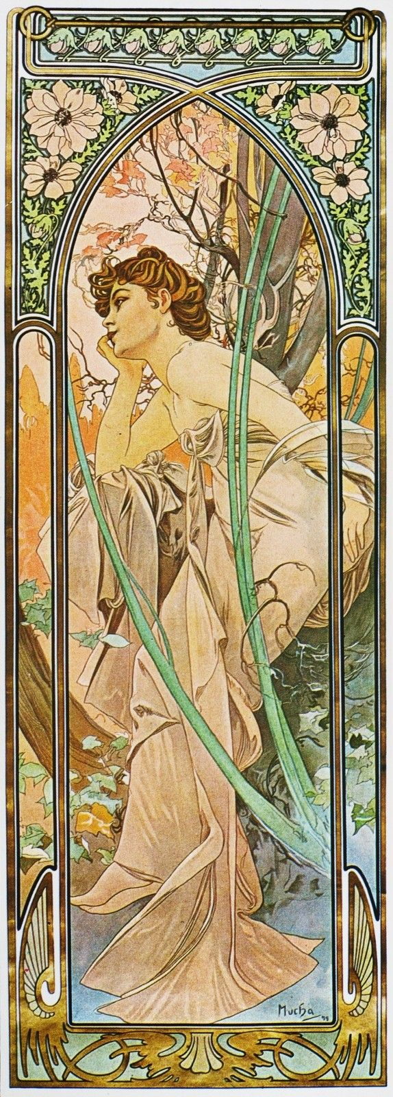 Alfons Mucha. 1899 Evening Reverie. The Hours of the Day