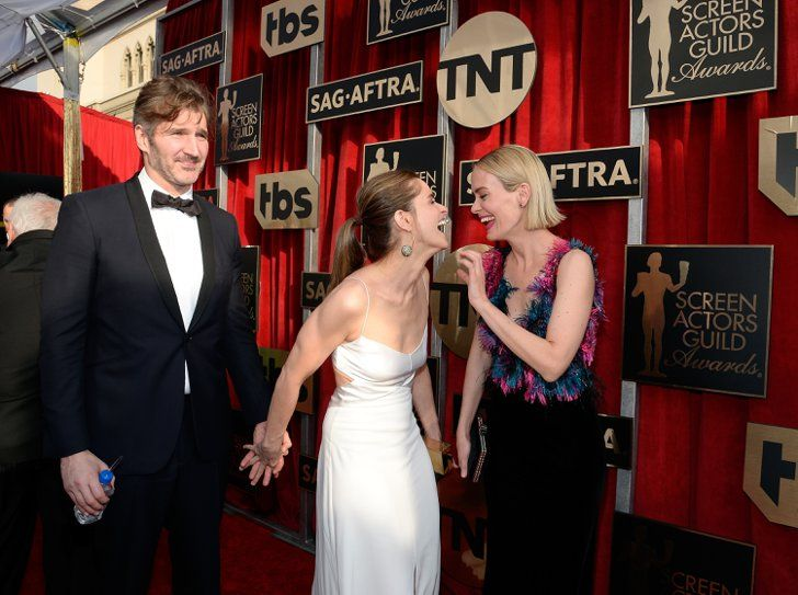 Pin for Later: These TV Stars From Different Shows Mingling Is Confusing For Your Brain  Game of Thrones creator David Benioff and his wife, Amanda Peet, mingled with Sarah Paulson from American Horror Story.