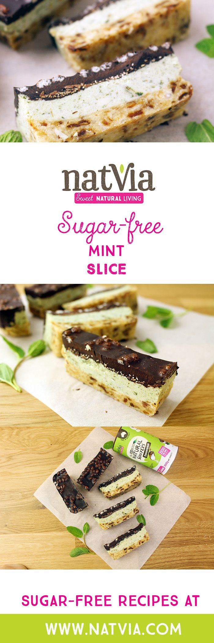 Up your #mint #slice game and create these beautifully #delicious layered #Vegan Mint Slices! #Natvia #Healthy #Dessert #sugarfree #recipes