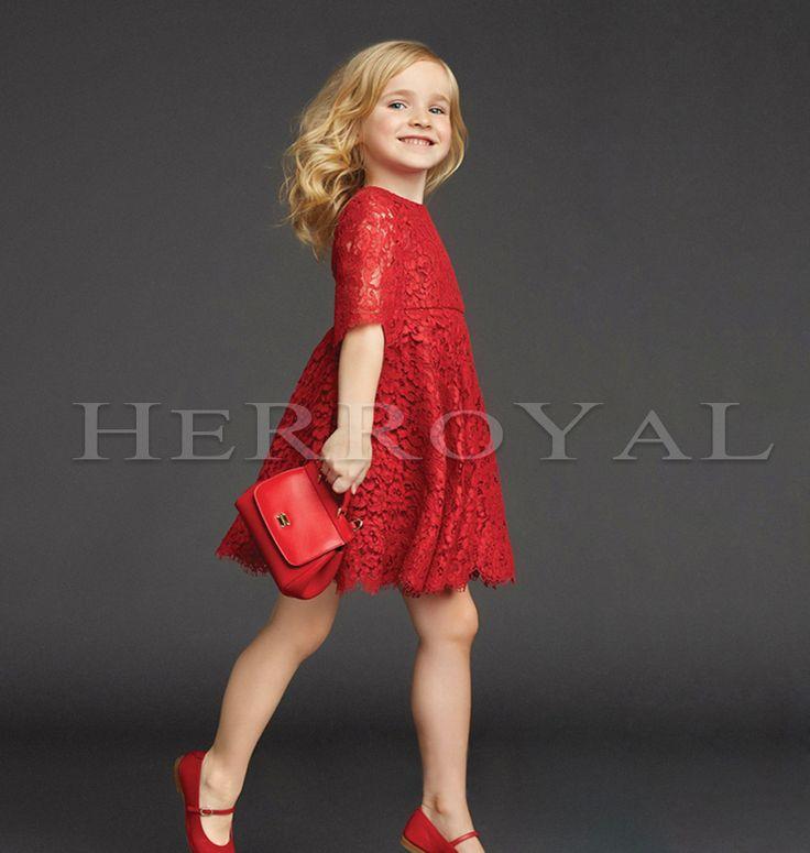 Herroyal красные кружева платье девушки платье принцессы платье большой качели юбки платье большой девственный Рождество и Новый год - Taobao