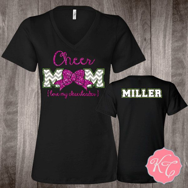 Personalized Cheer Mom Bow Custom glitter Shirt by KaydonCreek on Etsy https://www.etsy.com/listing/218482526/personalized-cheer-mom-bow-custom