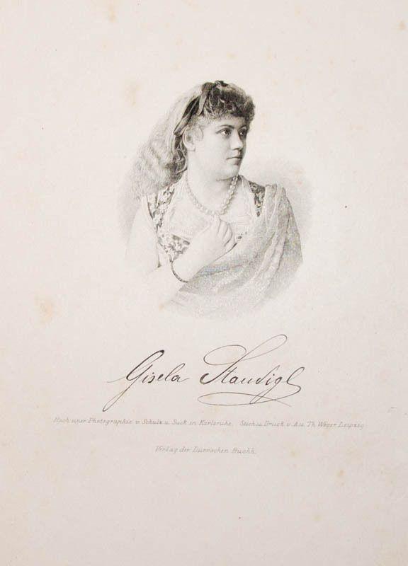 c1890 Staudigl Gisela Koppmayer Opernsängerin Stahlstich-Porträt Weger | eBay