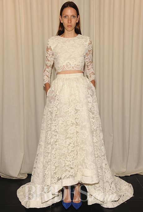 """Brides.com: Houghton - Fall 2014. """"Aligote"""" 3/4 length sleeve corded lace top with """"Macabeau"""" full skirt with cascading hem in corded lace"""