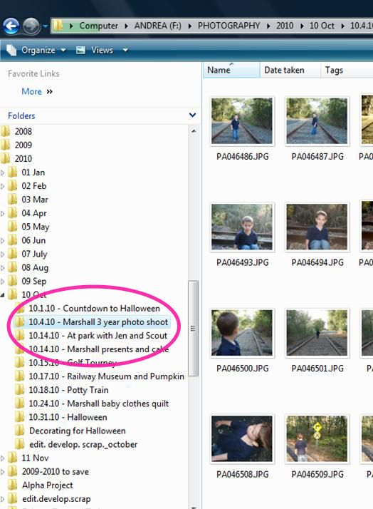 organizing picture files on computer