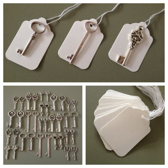"""Keys to Happiness  100 Antique Silver Skeleton by thejourneysend, $50.00.    Would be a really fun guest book idea to have each guest write down their """"key to happiness"""" on the tags!"""