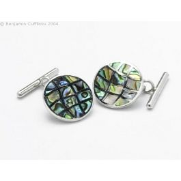 Silver and Mother of Pearl Mosaic Cufflinks - Luminous mother of pearl cufflinks set in a mosaic style with applied silver borders, attached to the T-bar by sturdy silver ring.