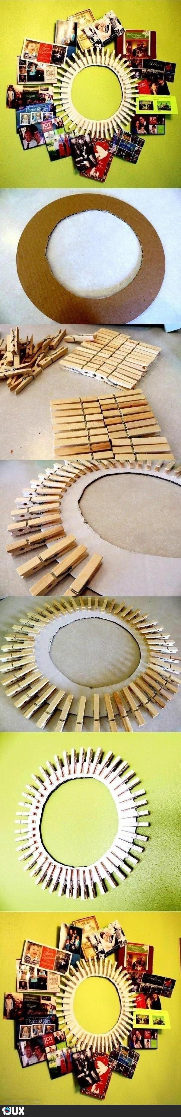 CLOTHING PINS TO A MIRROR AND SIMPLY CLIP PHOTOS...LOVELY IDEA