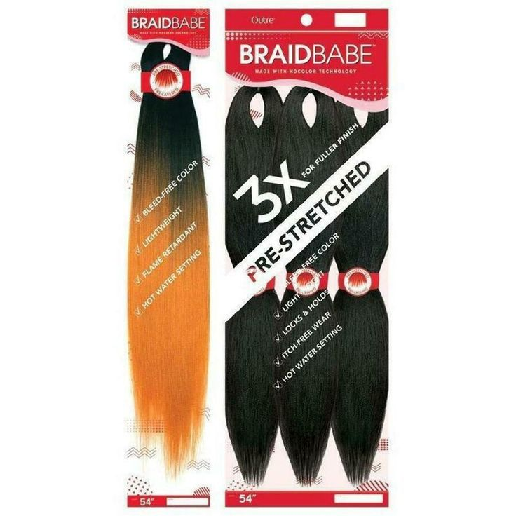 "BRAID BABE PRESTRETCHED BRAIDING HAIR 3PCS PACK 54"" Ad"