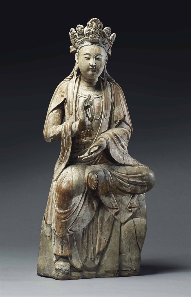 AN IMPORTANT LARGE WOOD FIGURE OF GUANYIN -  CHINA, SONG DYNASTY, 12TH/13TH CENTURY