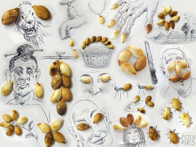 線畫與日常生活物品的生動呈現。Victor Nunes 用葵瓜子做想像
