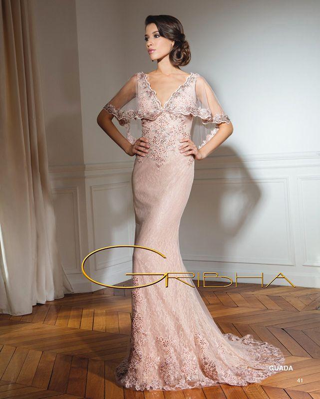robe de soirée longue gribha dentelle rose poudre plus cristal : du s au 5xl : 1089 €