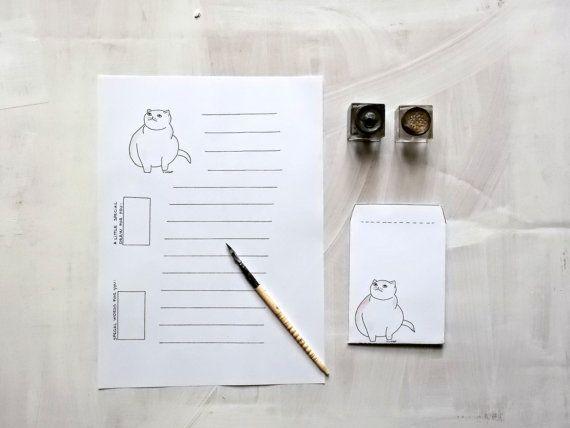 Far da sè è divertente ed economico!  Questo è un set di carta da lettere (foglio + busta coordinata) con una delle mie illustrazioni di gatto, perfetto