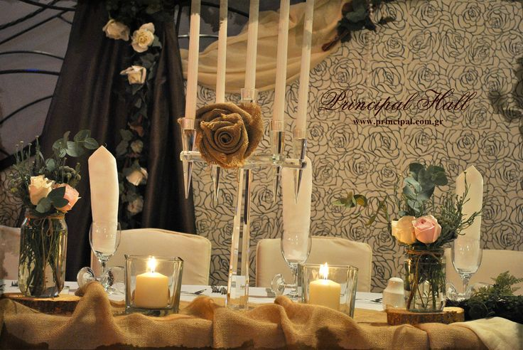 Wedding table decoration  #principalhall #decoration #wedding #table #groom #bride #deco #burlap #roses #pink #crystal #candleholder #weddingday #weddingparty #party
