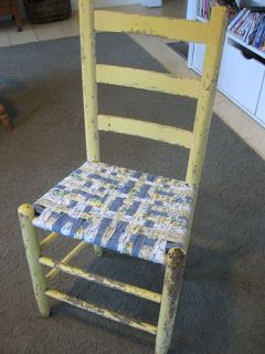 DIY:  How to Weave a Chair Seat - using fabric strips from sheets, curtains or dropcloths. This is an easy and excellent tutorial - via First a Dream