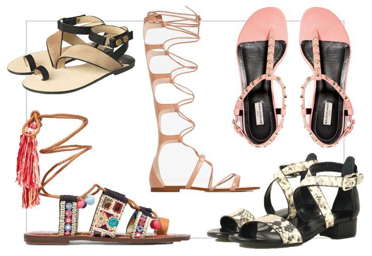 Fem fine, flade sandaler