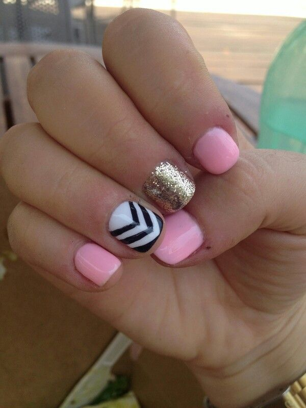 Nail art - pink gold black and white