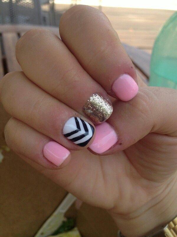Nail art - pink gold black and white