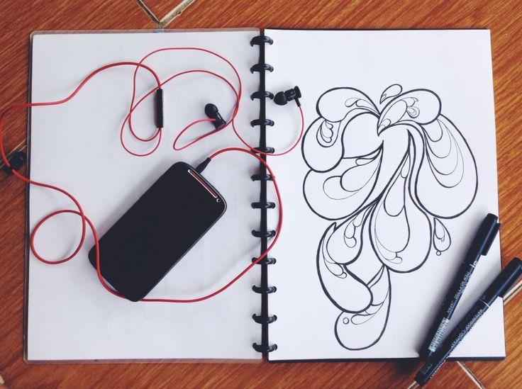 I love music and I love drawing... Ketika semuanya mengalir beriringan, Rasanya sangat luar biasa :)  #handrawing #freehand #indonesia #drawing #sketchbook #bnw