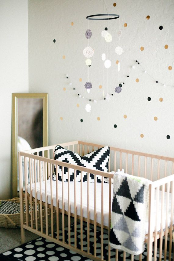 Black and Gold Metallic Nursery theme. Love the Aztec pillow design and accents
