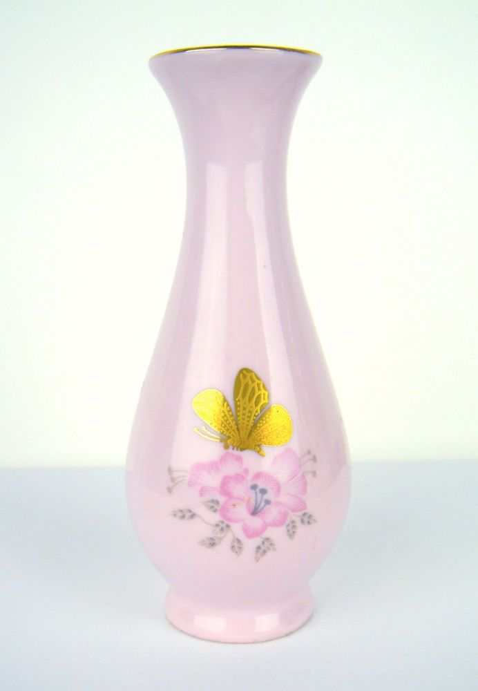 Antique Miniature Vase Pink Porcelain Czechoslovakia Flower Butterfly Gold RGK