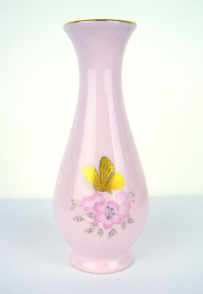 Antique Miniature Vase Pink Porcelain Czechoslovakia Flower Butterfly Gold RGK