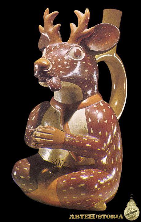 Vasija representando un hombre-venado cautivo. Cultura Mochica (Perú)