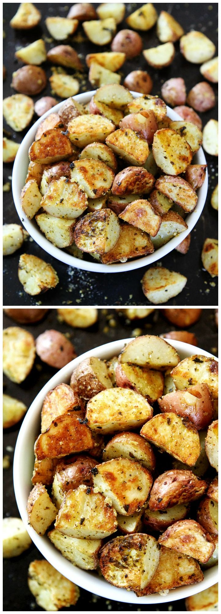 3-Ingredient Roasted Pesto Parmesan Potatoes Recipe on twopeasandtheirpod.com You only need THREE ingredients to make these delicious potatoes. They make a great side dish to any meal.: