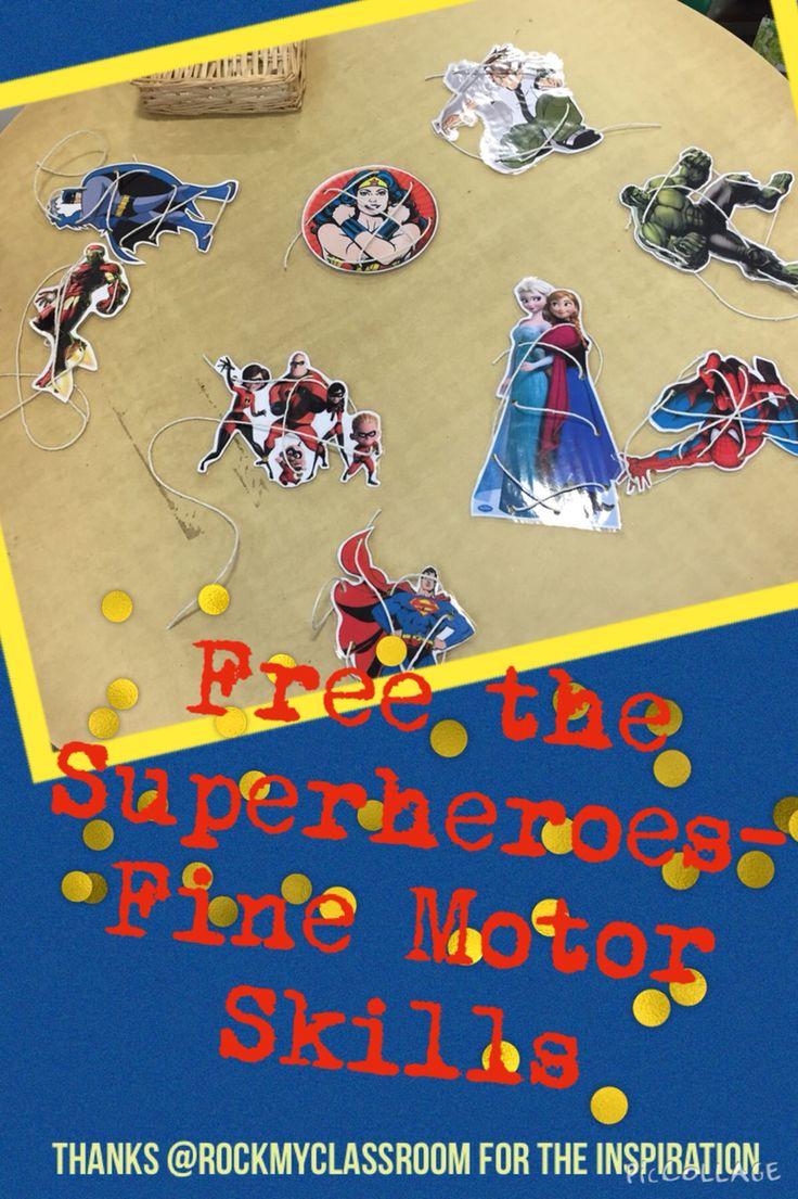 Finger gym fine motor development with a superhero theme.  (Missamyp)