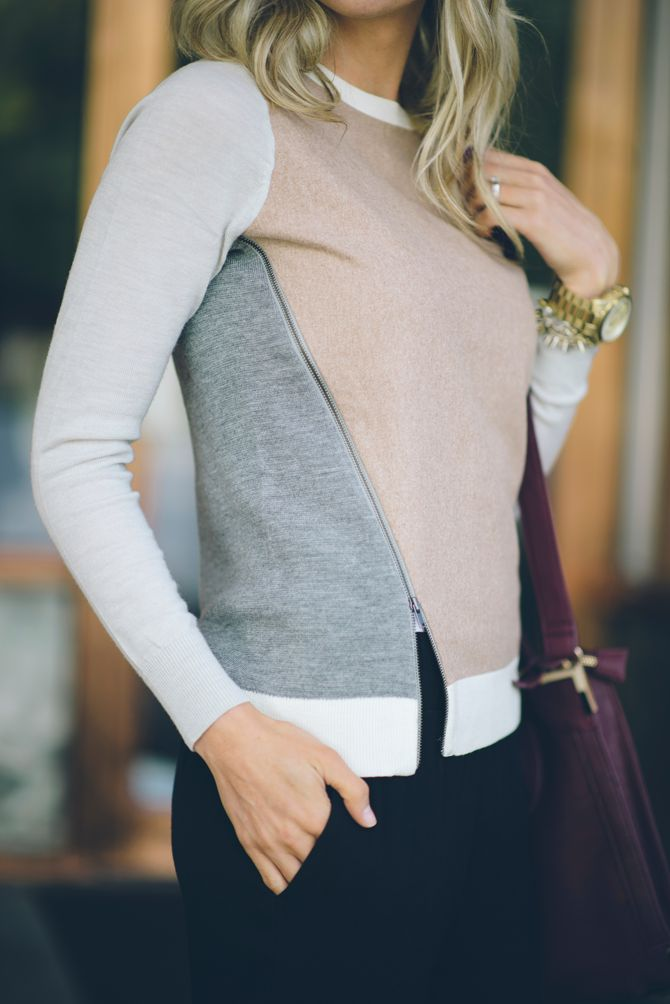 J Crew - Merino wool asymmetrical zip sweater in colorblock