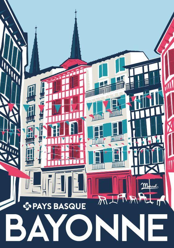 les 229 meilleures images du tableau pays basque sur pinterest sud ouest affiches de voyage. Black Bedroom Furniture Sets. Home Design Ideas