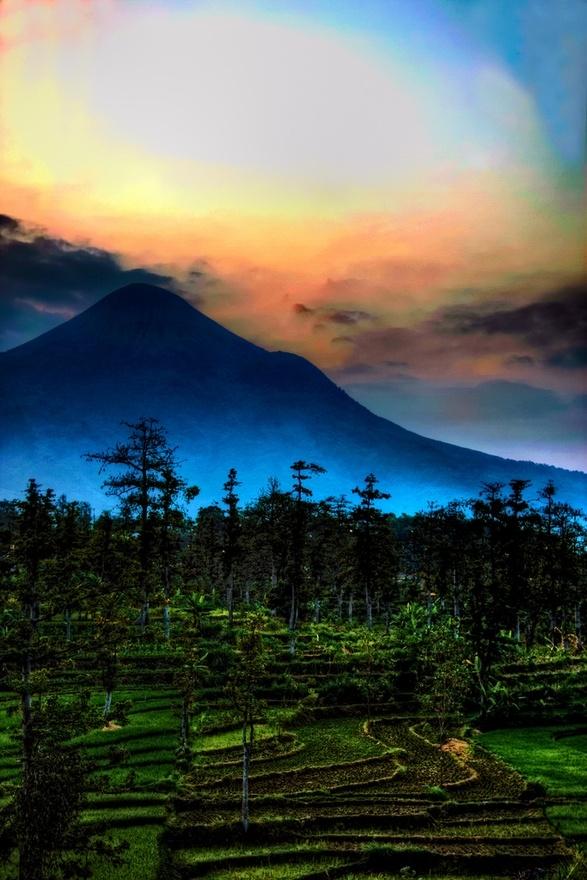 Dusk near Pandaan, East Java, Indonesia