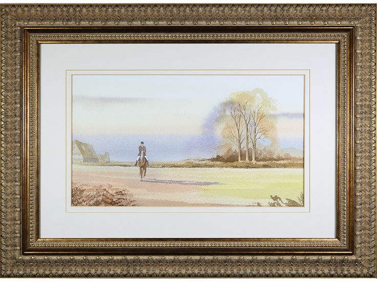 'Horse Rider in Autumn Landscape' Original watercolour, indistinctly signed.