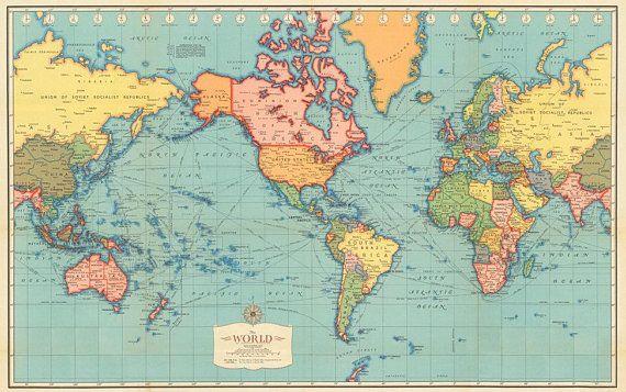 World map printable digital Vintage World Map Old World