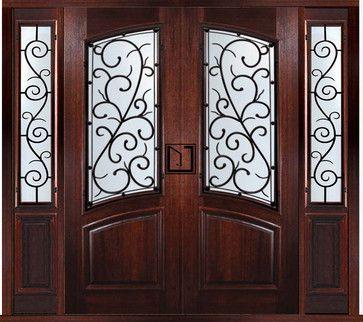 Double door front entry doors prehung custom double door with two sidelights bellagio style - Double front entry doors with sidelights ...