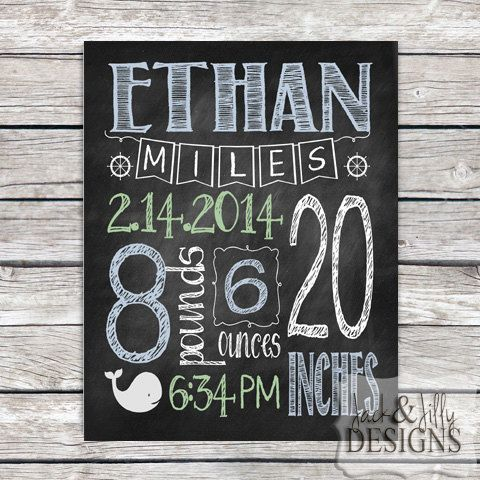 PERSONALIZED CHALKBOARD BIRTH Stat  Print  by JackandJillyDesigns, $14.00