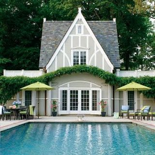 Pool House With Tudor Style Stucco Base Color And Trim Lighter Happy Thingstudor Exterior Painttudor