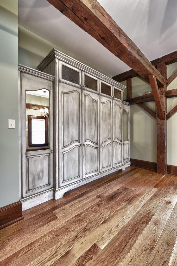 Custom built in closet with antique finish www.hustlerdesignhouse.ca
