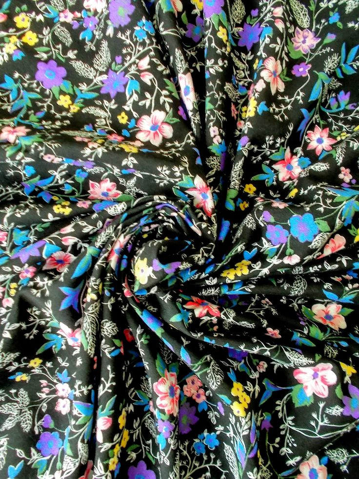 Vintage Cotton/ Mix Dress Fabric - 1960's/1970's - Black background with blue, yellow, purple & pink flowers - One piece - Unused