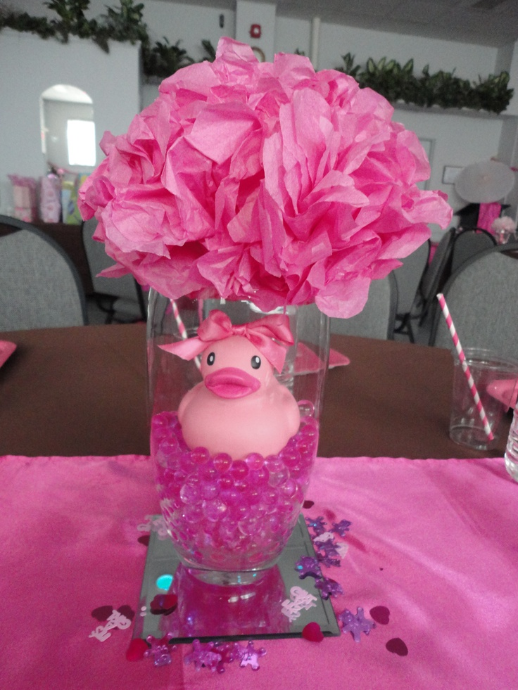 Water gems ordered from ebay vases and mirrors from dollar store and ducks found at walmart for - Pink baby shower table decorations ...