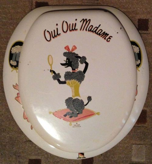 Dear John Hollywood Parisian poodle vintage toilet seat