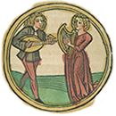 Illustration of Phlegmatic from the book, Deutsche Kalendar. Circular rim frames a scene showing a young man and a young woman playing string instruments facing each other.