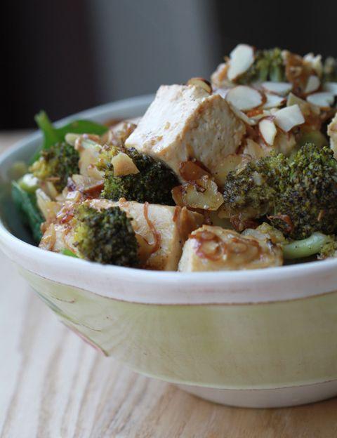 White Miso Tofu over Smoky Almond Broccoli
