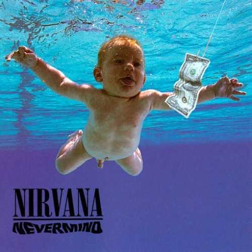 """Nirvana - """"Nevermind"""" (1991). Art direction by Robert Fisher, baby Spencer Elden photographed by Kirk Weddle. (http://www.ew.com/ew/article/0,,310276,00.html)"""