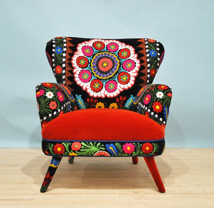 Suzani+armchair++orange+sun+por+namedesignstudio+en+Etsy,+$1.600,00