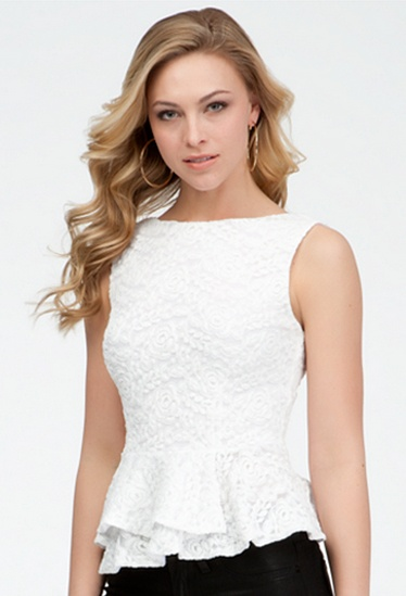 Lace Sleeveless Peplum Top #bebe #summer #musthaves