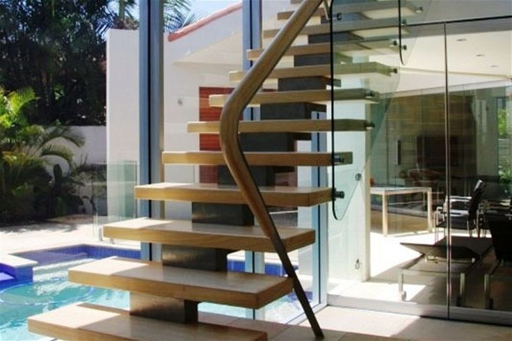 An image of an open tread stair creating a weightless impression in this Arden project